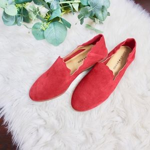 NWOB Lucky Brand Red Suede Loafer Flats